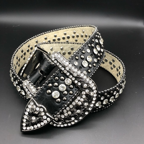 Accessories - Rhinestone Belt, Bling, Leather, S/M, New